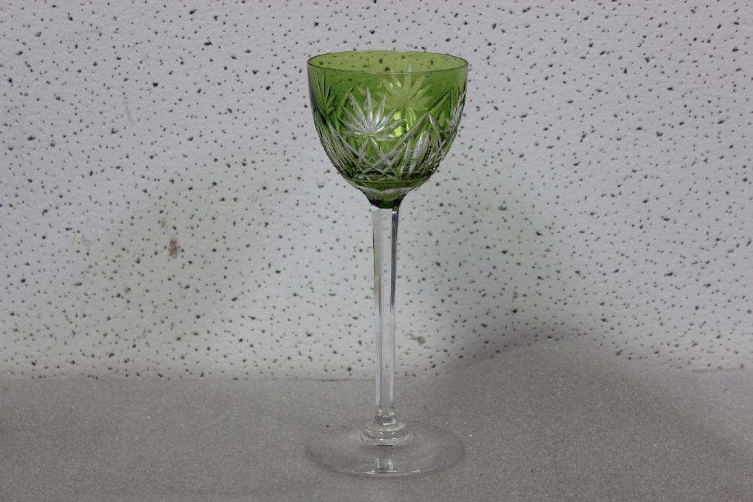 A Green Cut Glass Steam Goblet