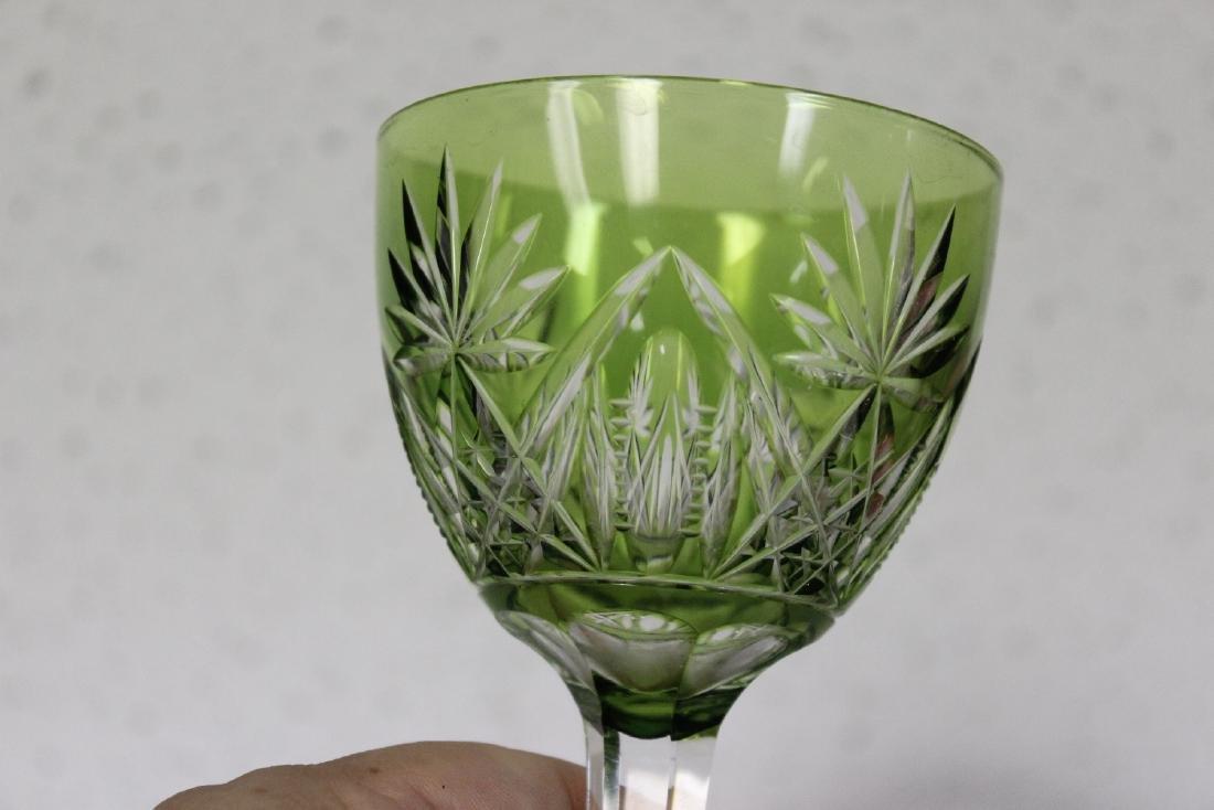 A Green Cut Glass Steam Goblet - 2