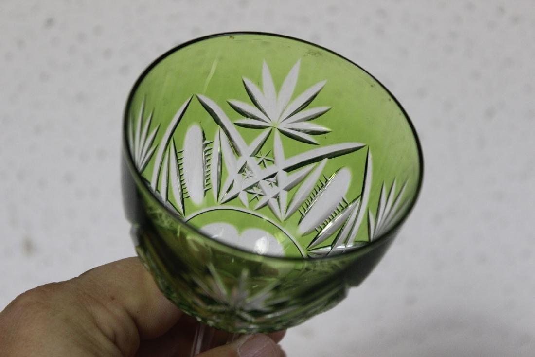 A Green Cut Glass Steam Goblet - 3