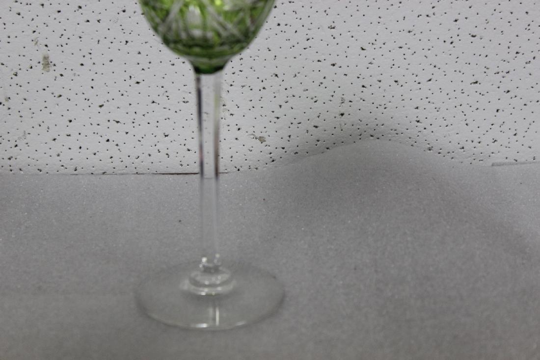 A Green Cut Glass Steam Goblet - 4