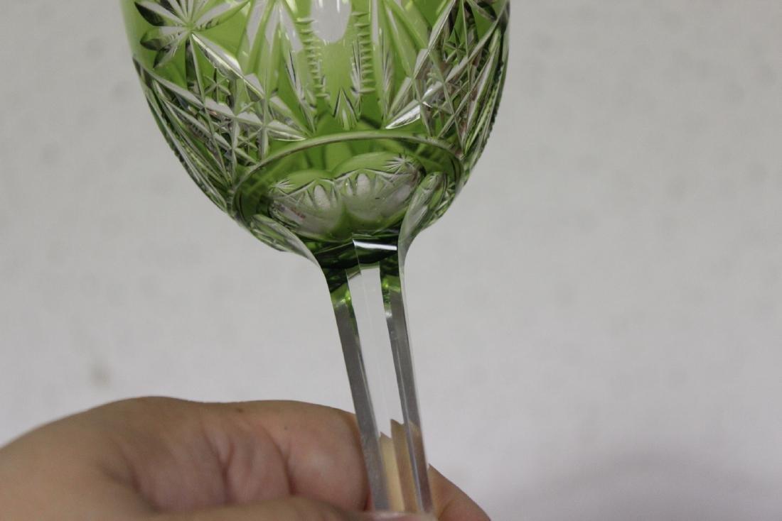 A Green Cut Glass Steam Goblet - 5