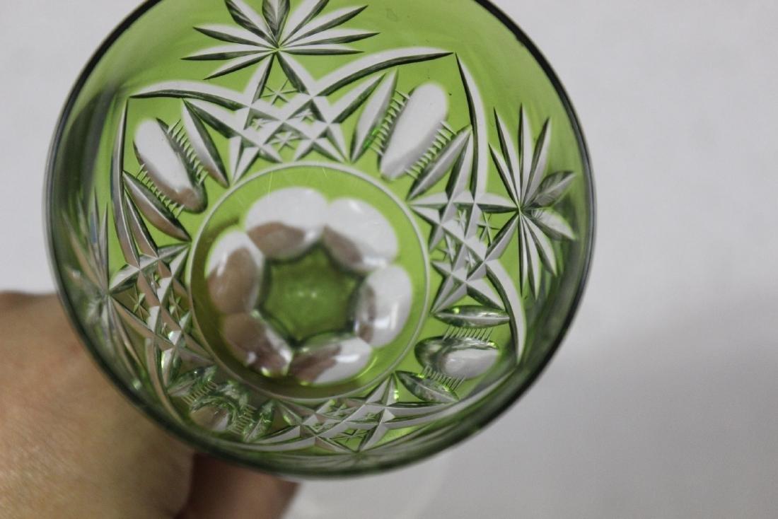 A Green Cut Glass Steam Goblet - 7