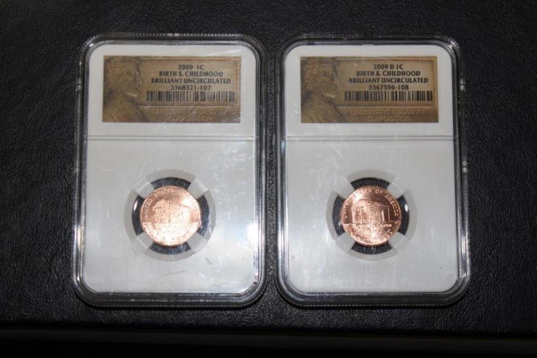 Lot of 2 2009 P + D NGC Slap Lincoln Penny