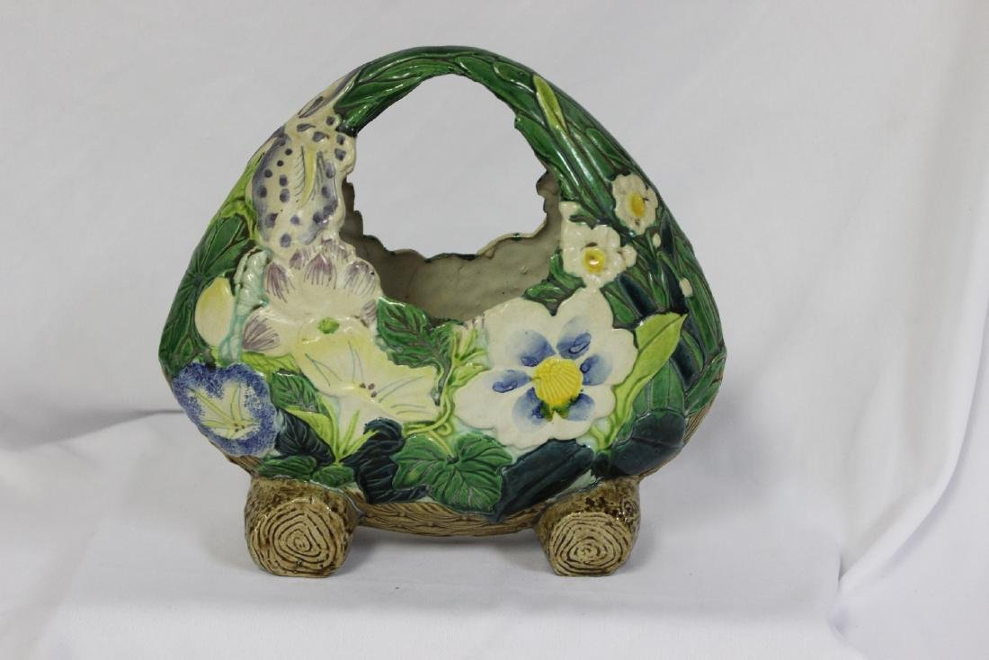 A Japanese Ceramic Ikebana Basket