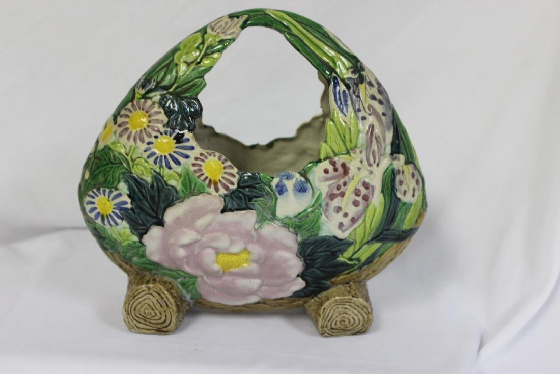 A Japanese Ceramic Ikebana Basket - 2