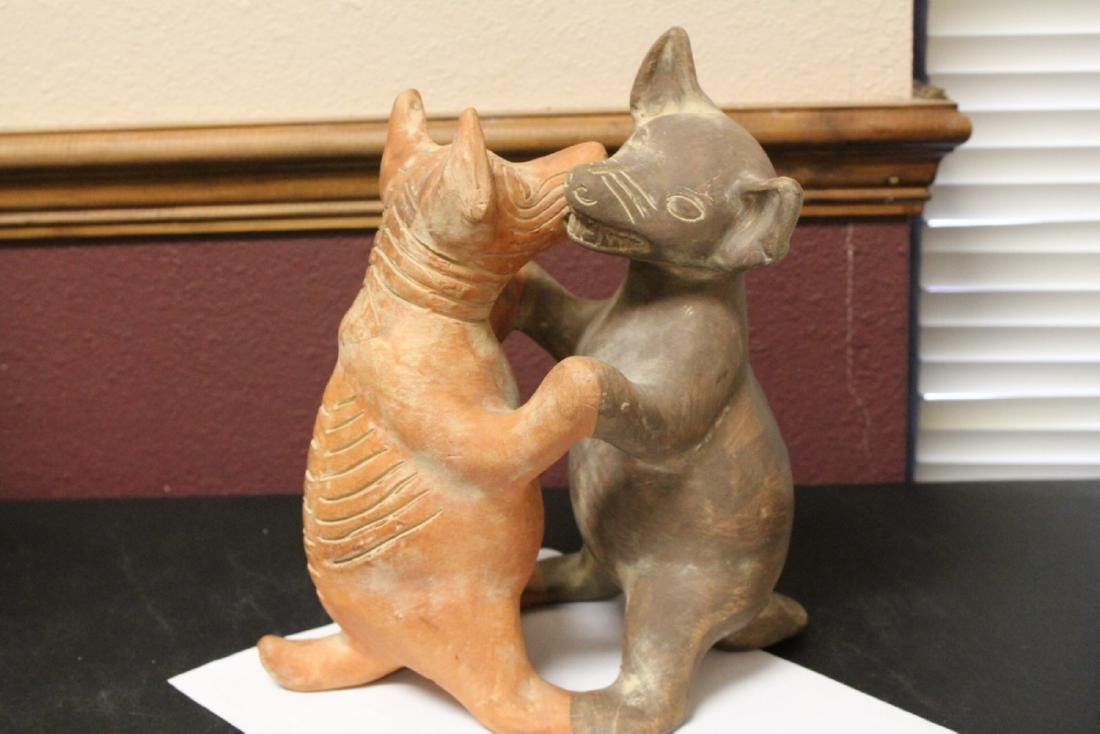 A Signed Mexico Clay Coyote and Dog Dancer Figure - 7