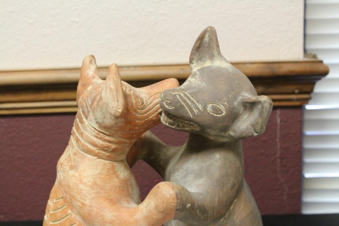 A Signed Mexico Clay Coyote and Dog Dancer Figure - 8