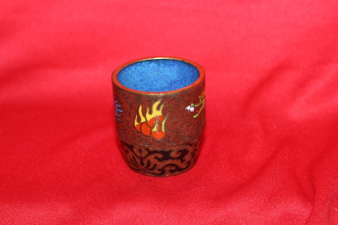 A Chinese Cloisonne Dragon Cup - 4