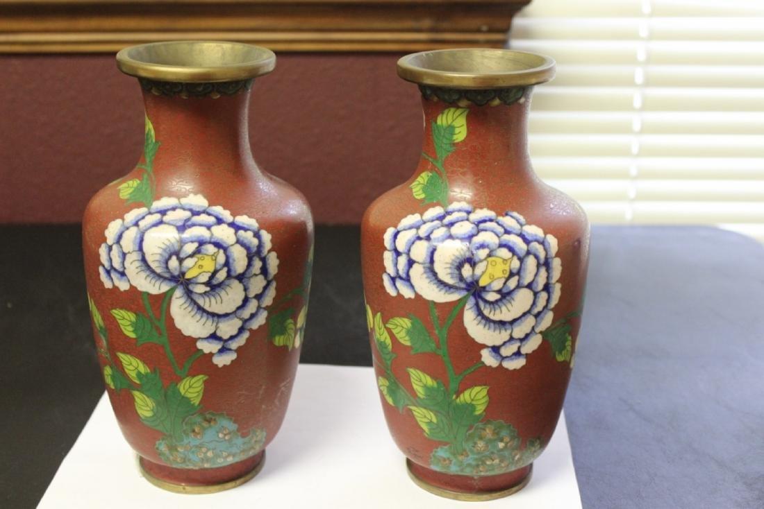 Lot of 2 Chinese Cloisonne Vases - Vintage