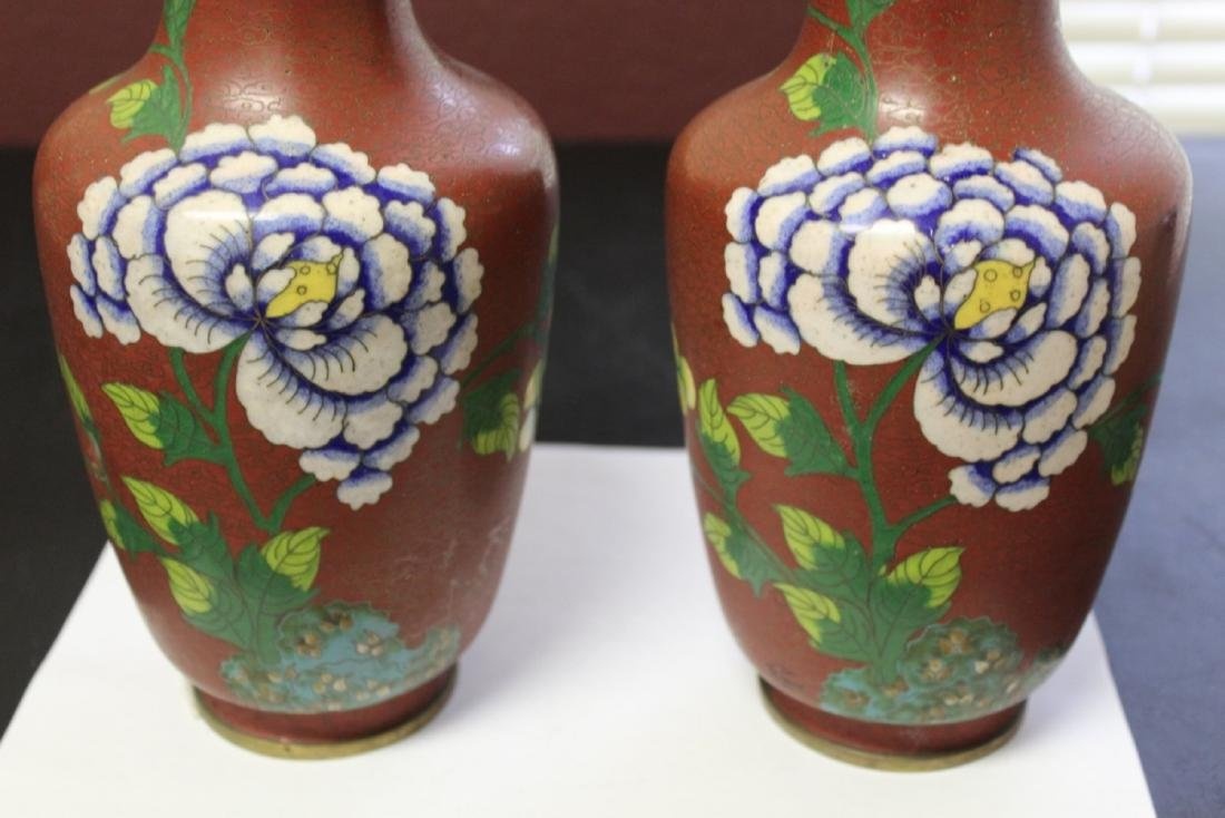 Lot of 2 Chinese Cloisonne Vases - Vintage - 3