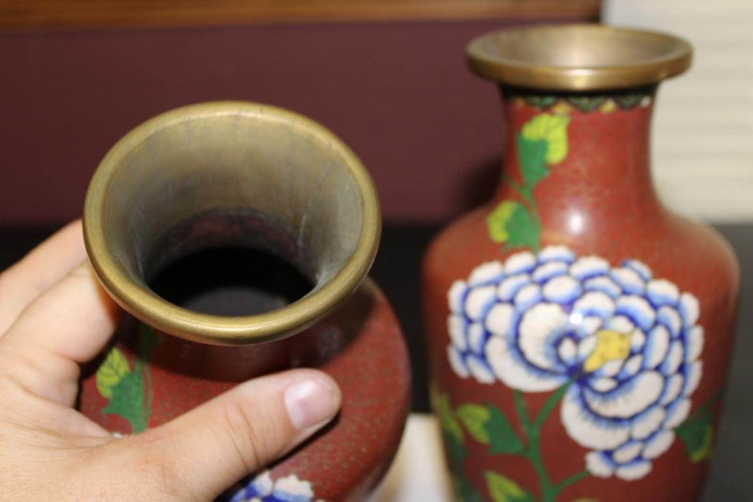 Lot of 2 Chinese Cloisonne Vases - Vintage - 4