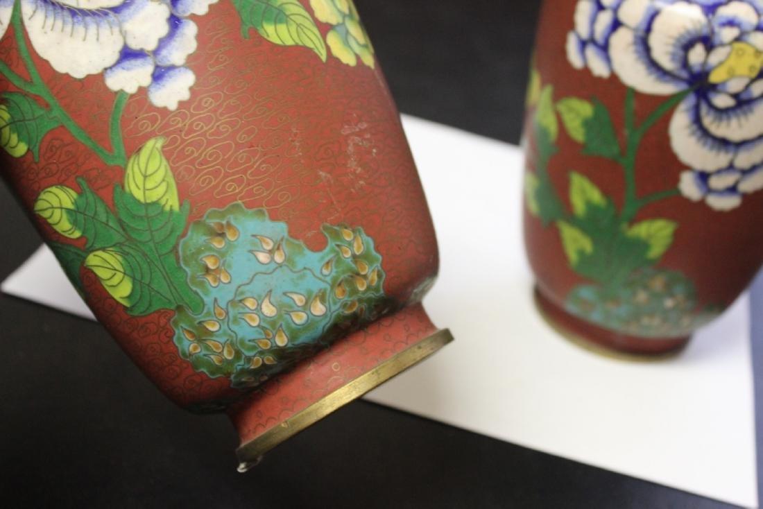 Lot of 2 Chinese Cloisonne Vases - Vintage - 6