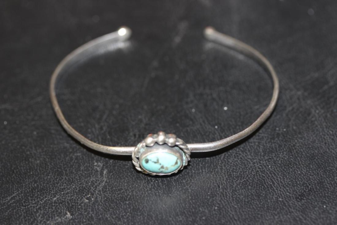 A Sterling Silver Torquoise Bracelet - 3