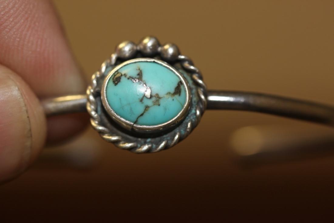 A Sterling Silver Torquoise Bracelet - 4