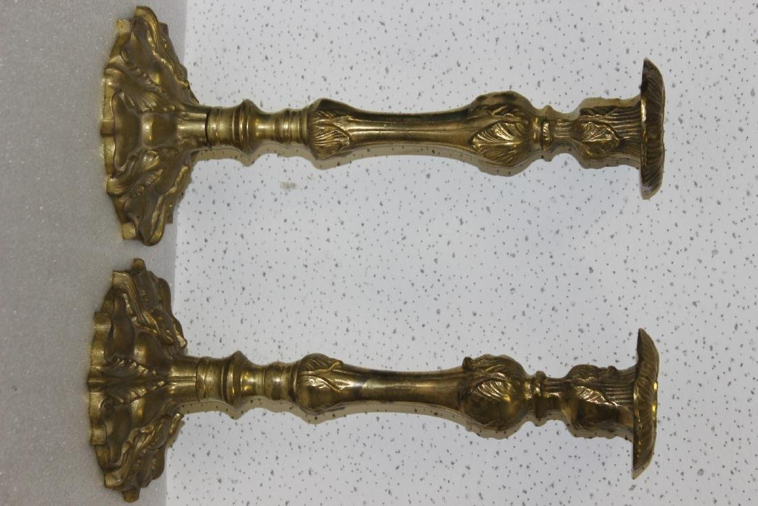 A Pair of Brass or Metal Candle Sticks