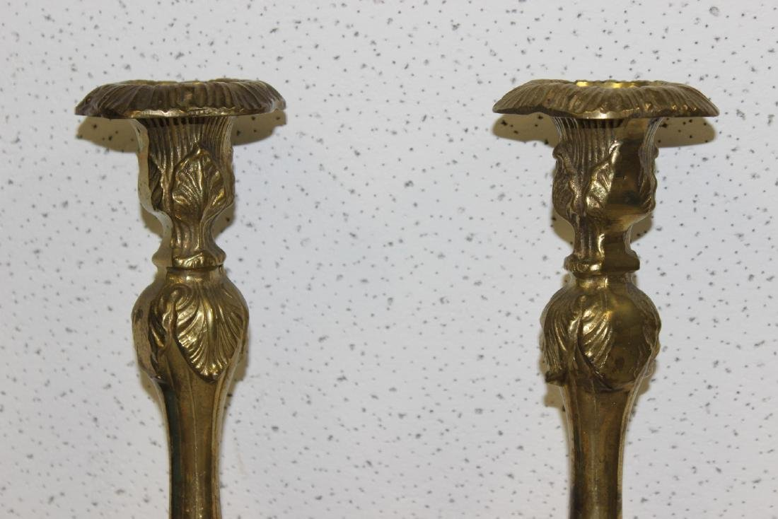 A Pair of Brass or Metal Candle Sticks - 2