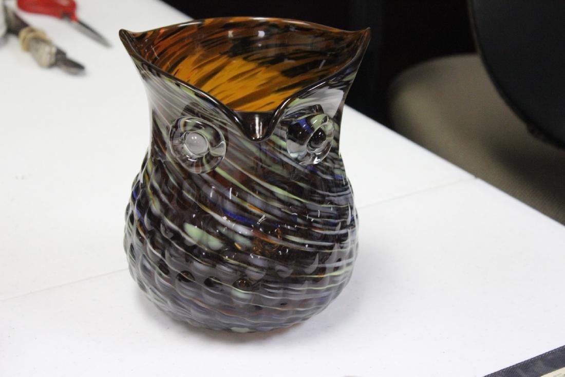 An Art Glass Owl Pitcher
