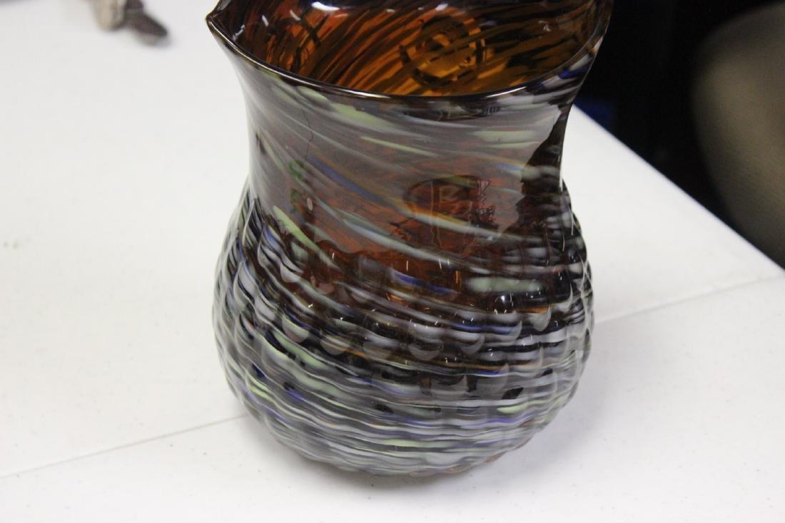 An Art Glass Owl Pitcher - 7