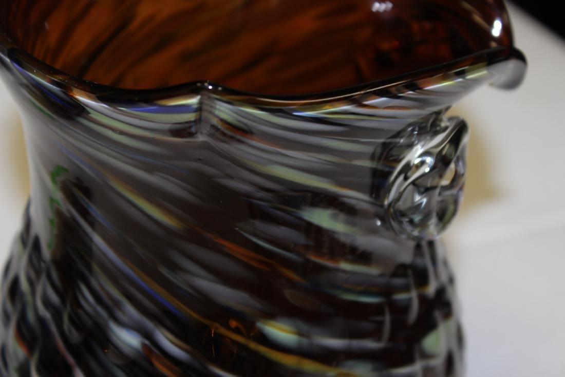 An Art Glass Owl Pitcher - 8