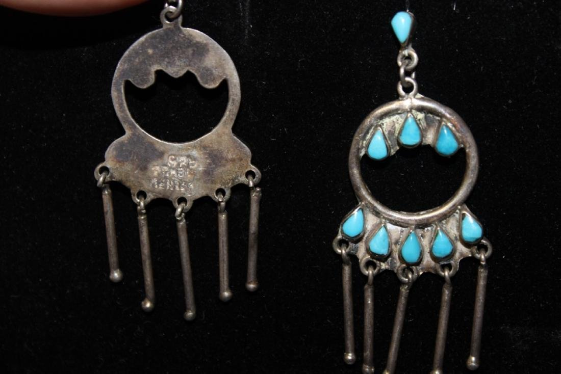 A Mexico Torquoise and Sterling Earrings - 2