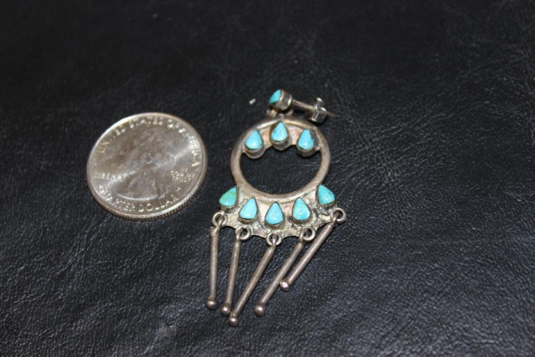 A Mexico Torquoise and Sterling Earrings - 4