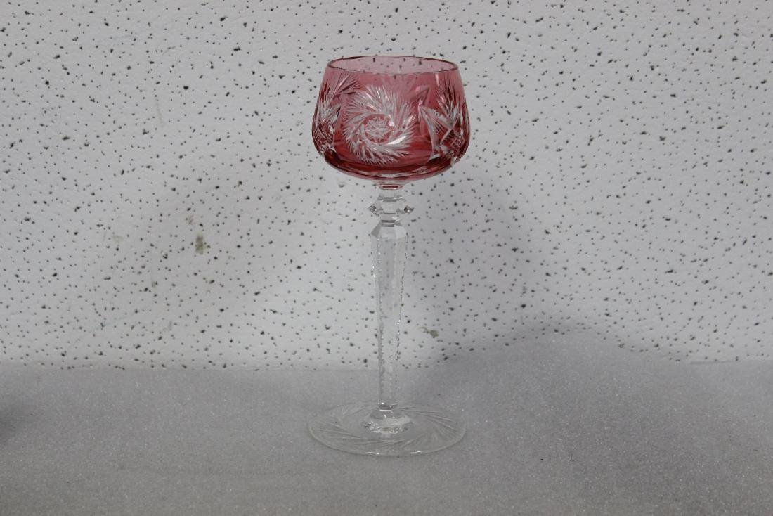 A Cut Glass Cranberry Goblet