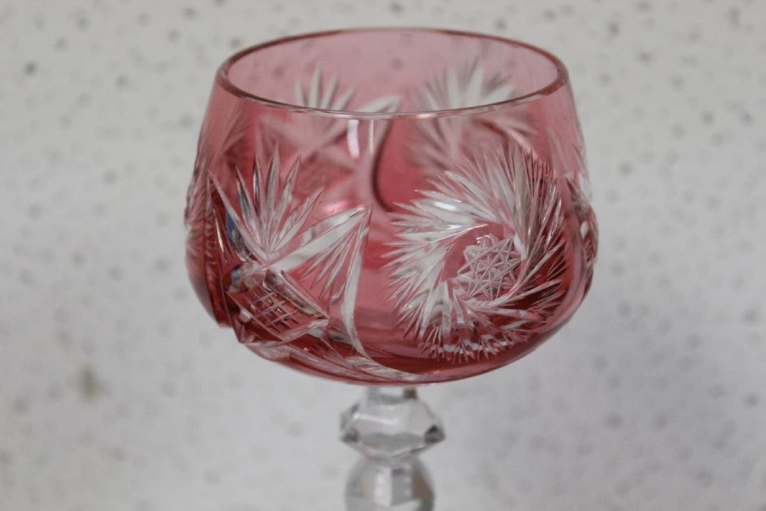 A Cut Glass Cranberry Goblet - 3