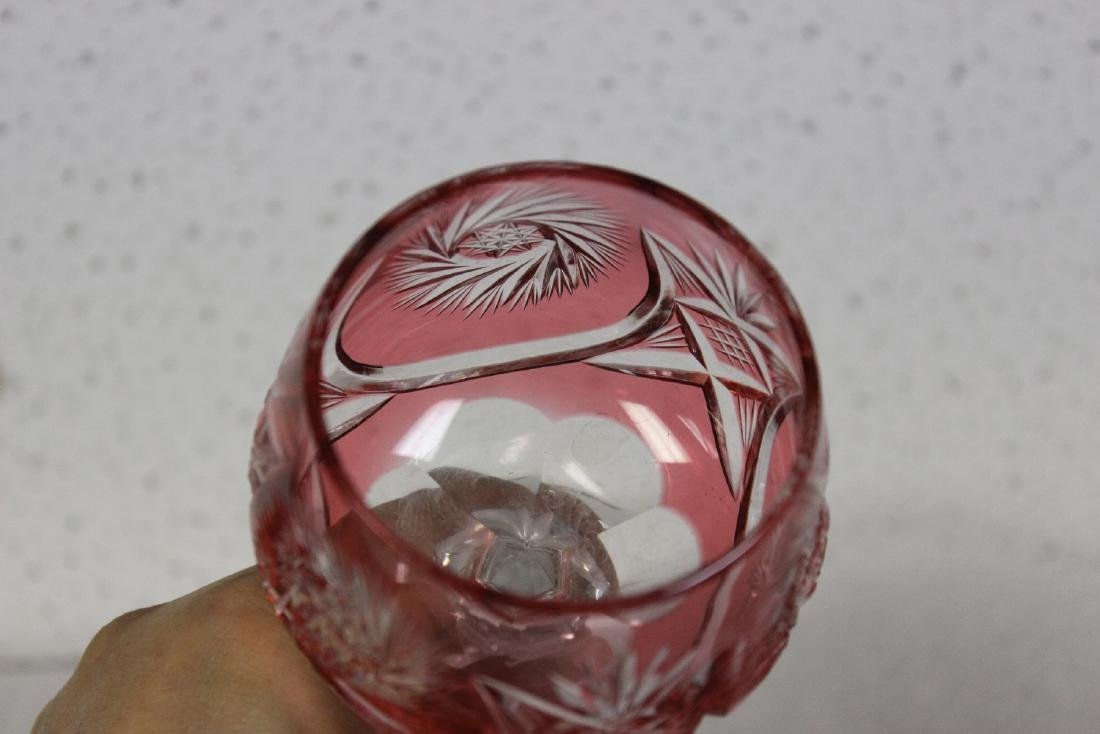 A Cut Glass Cranberry Goblet - 6