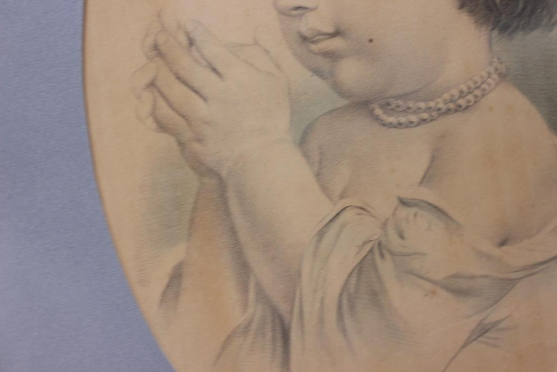 """A Vintage Drawing Possibly Antique """"The First Prayer"""" - 7"""