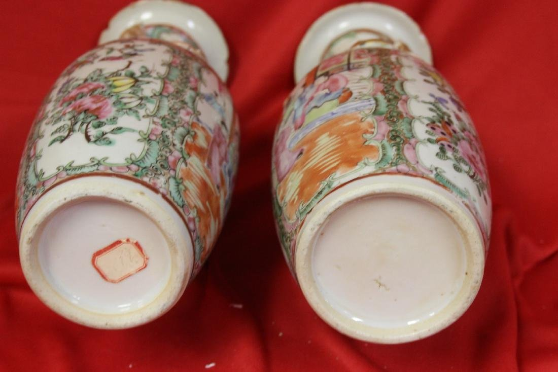 A Pair of Rose Medallion Vases - 3