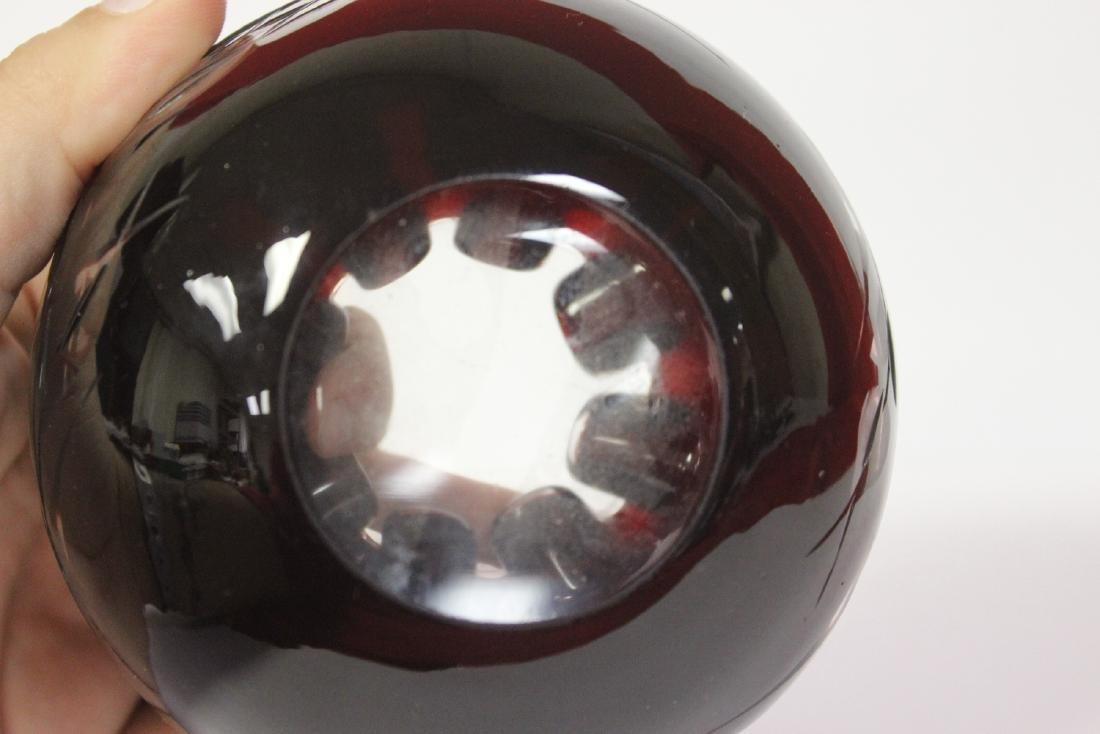 A Peach Bloom Cut Glass Bowl - 6