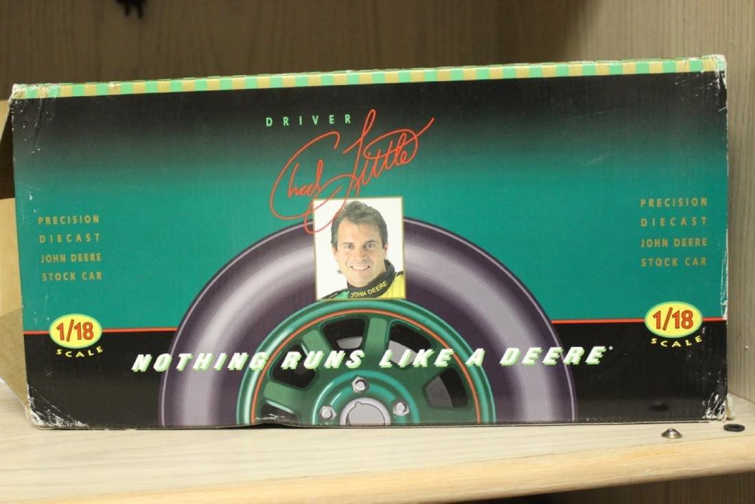 A John Deere Chad Little Die Cast Race Car Model