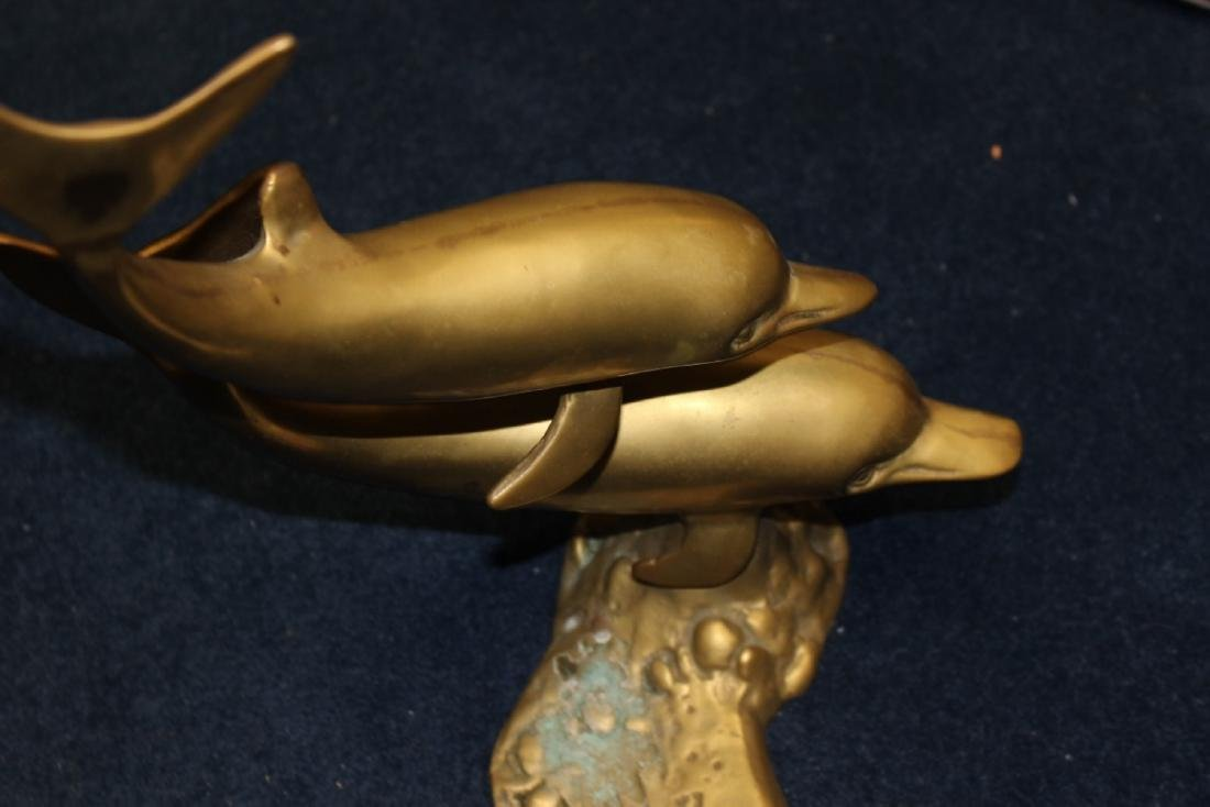 A Bronze/Brass/Metal Dolphin Statue /Twin Dolphins - 3