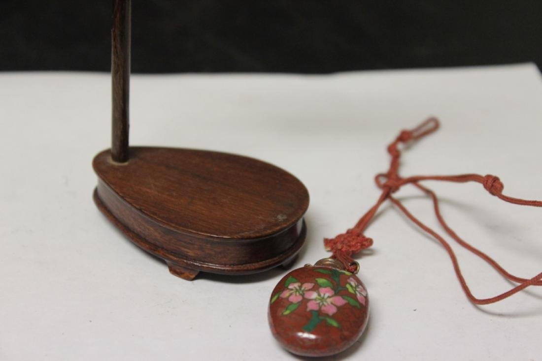 A Chinese Vintage Cloisonne Snuff Bottle and Holder - 3