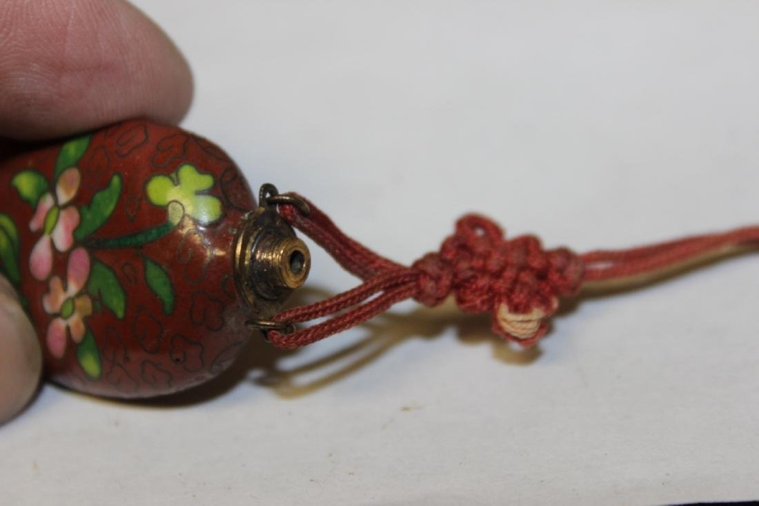 A Chinese Vintage Cloisonne Snuff Bottle and Holder - 5