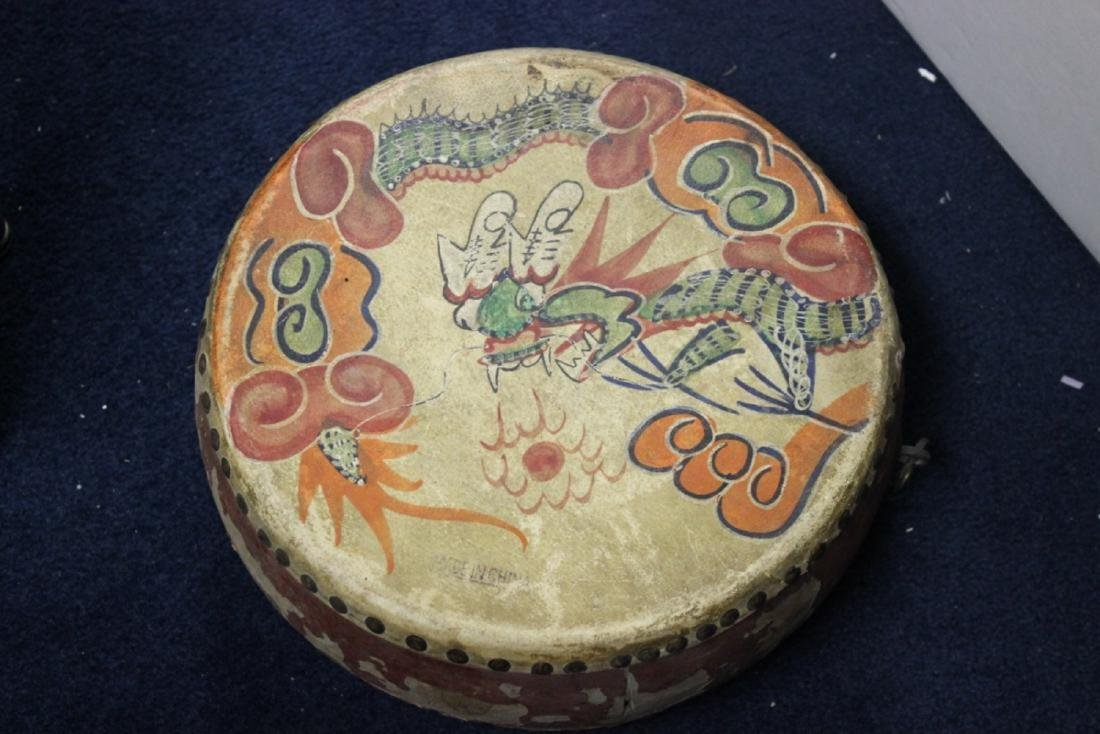 An Antique Chinese Leather Drum - Wood and Leather - 3