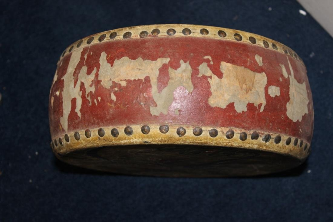An Antique Chinese Leather Drum - Wood and Leather - 4