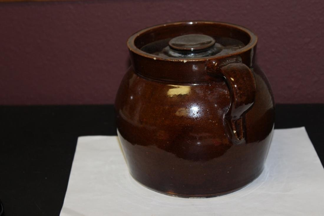 An Antique Lidded Crock With Handle - 2