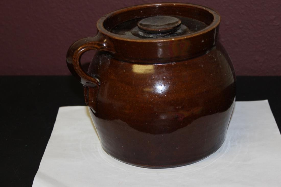 An Antique Lidded Crock With Handle - 3