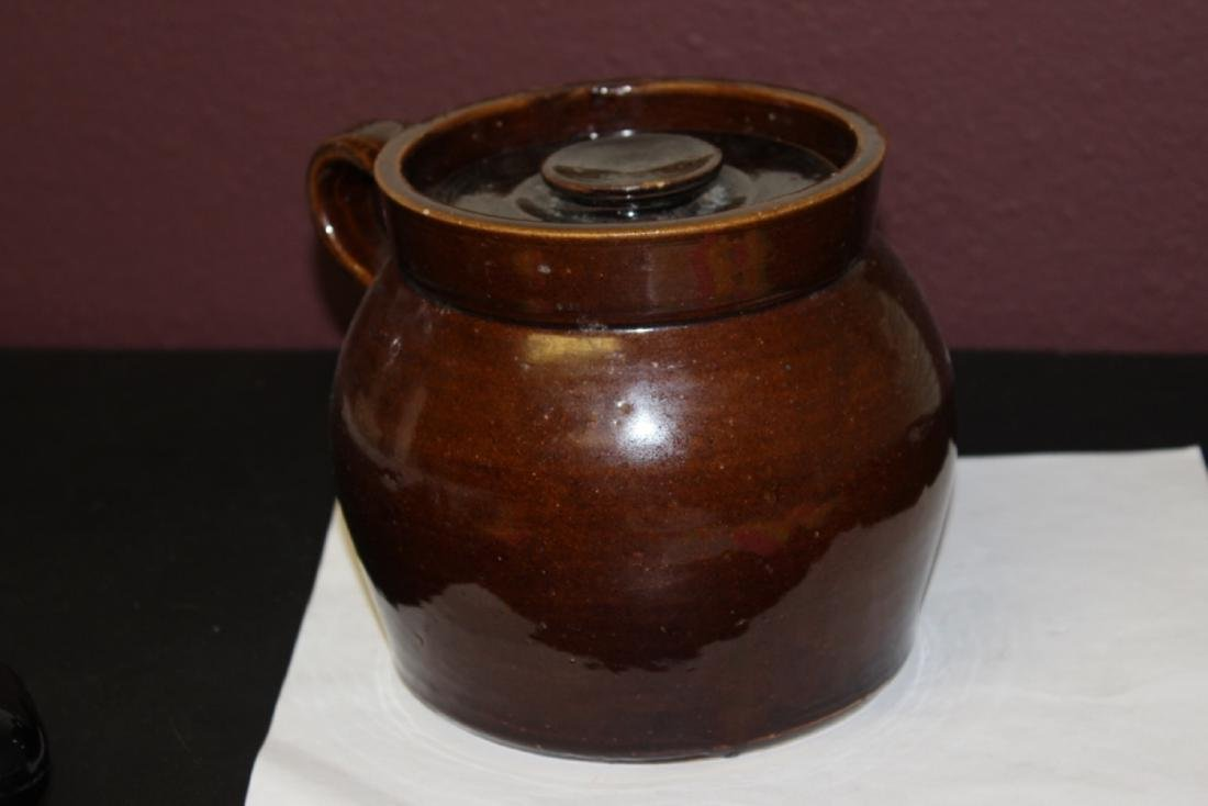 An Antique Lidded Crock With Handle - 4