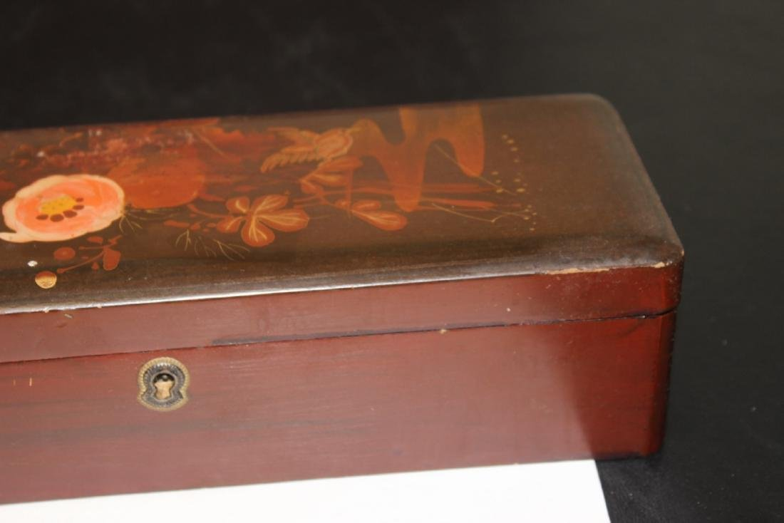 A Vintage Japanese Hand Painted Lacquer Long Box - 3