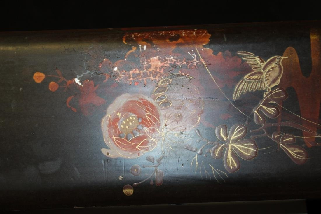 A Vintage Japanese Hand Painted Lacquer Long Box - 4