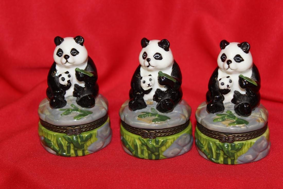 Lot of 3 Panda Ceramic Trinket Boxes