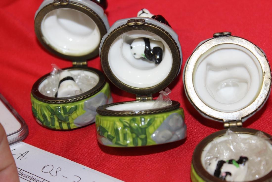 Lot of 3 Panda Ceramic Trinket Boxes - 3