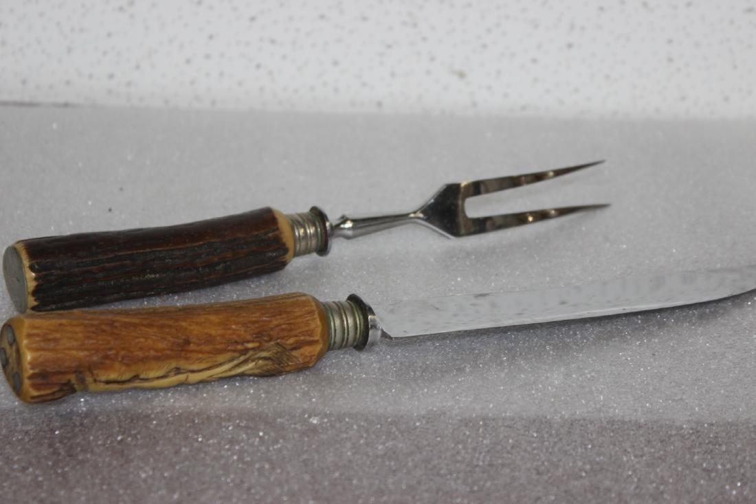 Set of Two Carved Antler Handle Serving Set - 8