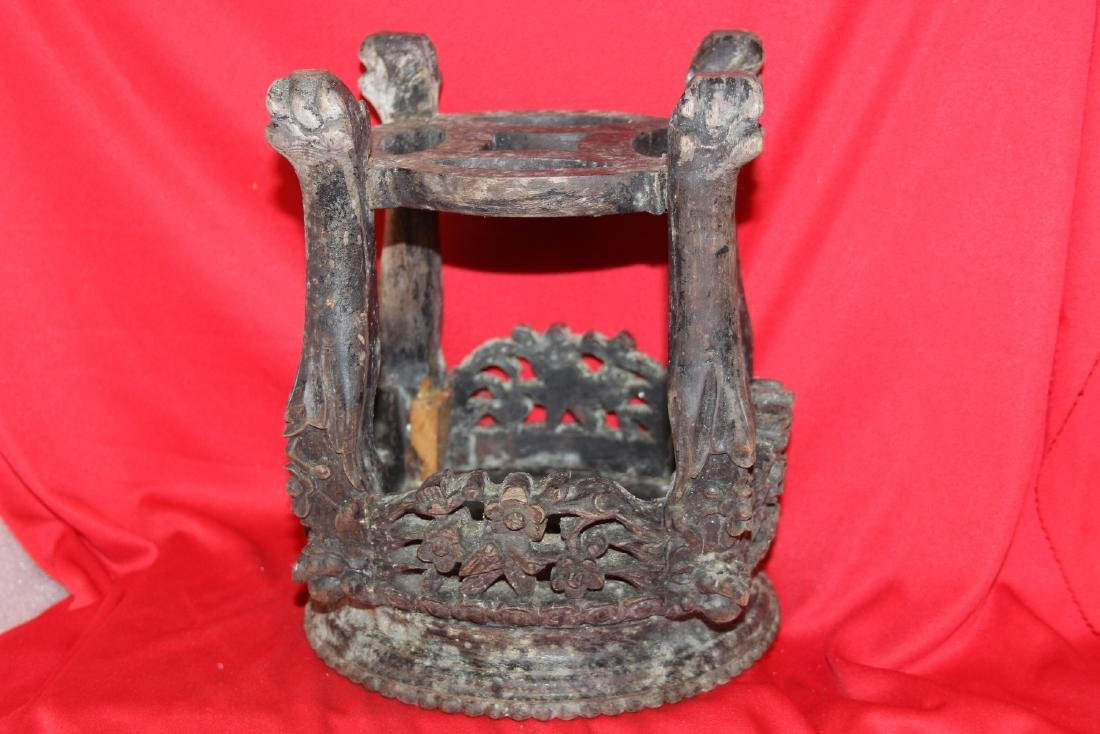 An Antique Chinese Well Carved Wood Stand