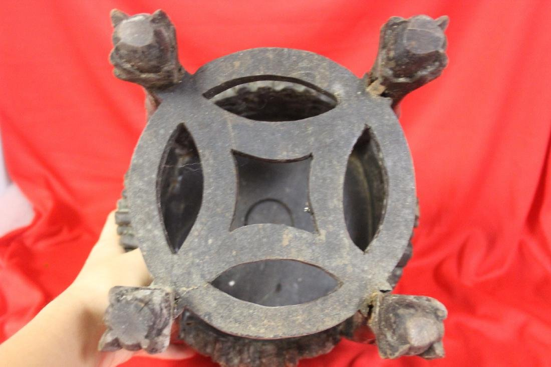 An Antique Chinese Well Carved Wood Stand - 3