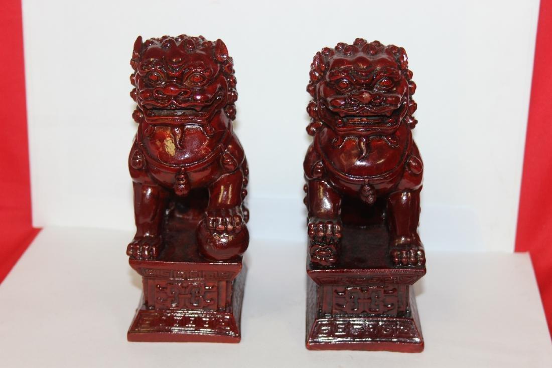 A Pair of Resin Foo Lions