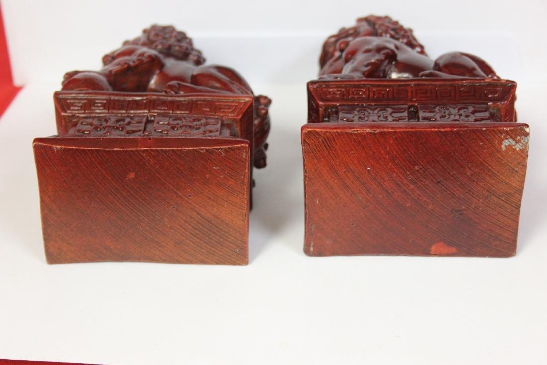 A Pair of Resin Foo Lions - 5