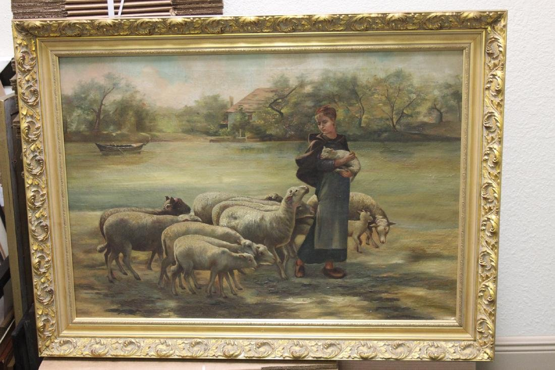 An Oil on Canvas of Sheep and Shepard